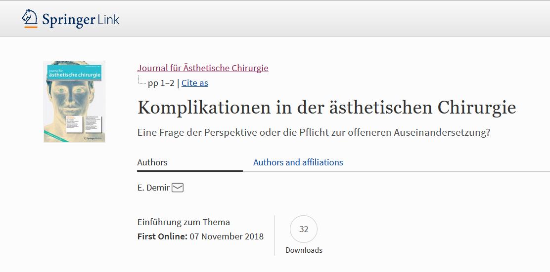 Beitrag von Dr. Erhan Demir in Köln - Komplikationen in der ästhetischen Chirurgie